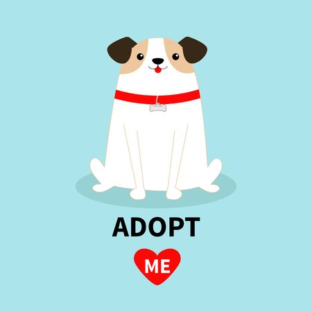 Adopt me. Dog sitting. White puppy pooch. Red collar bone. Cute cartoon kawaii funny baby character. Flat design style. Help homeless animal concept. Pet adoption. Blue background. Isolated. Vector