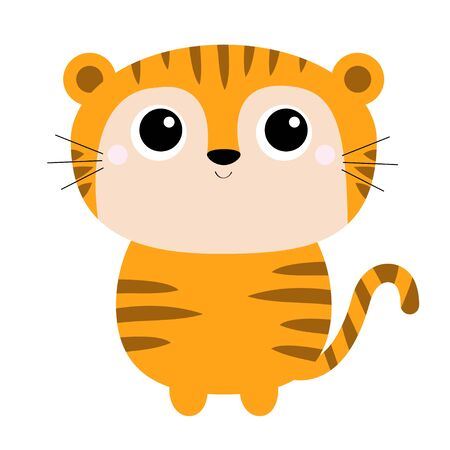Tiger toy icon. Cute cartoon funny character. Big eyes. Baby animal collection. Childish print for nursery, kids apparel, poster, postcard. Jungle cat. Flat design. White background. Isolated. Vector