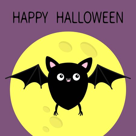 Happy Halloween. Cute black bat flying silhouette icon. Yellow moon. Cartoon kawaii funny baby character with wing, eyes, ears, legs. Forest animal. Flat design. Violet background Greeting card Vector Stock Illustratie