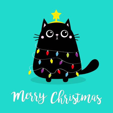 Merry Christmas cat fir tree shape. Garland lights bulb string Star. Kitty kitten sitting. Funny Kawaii animal Kids print Cute cartoon baby character Pet collection. Flat design Blue background Vector