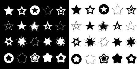 Stars Sparkles sign symbol icon set. Hand drawing doodle image. Cute shape collection. Christmas decoration element. Black and white background. Flat design. Vector illustration