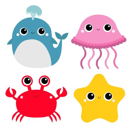 Whale Jellyfish Crab Starfish toy icon set. Big eyes. Yellow star. Cute cartoon funny baby character. Sea ocean animal collection. Flat design. Kids print.  イラスト・ベクター素材