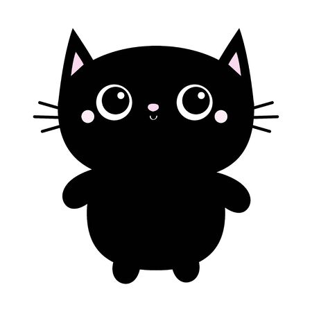 Black cat toy icon. Big eyes. Kitty kitten standing. Funny Kawaii animal. Kids print. Cute cartoon baby character. Pet collection. Flat design White background. Vector illustration