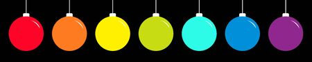 Christmas ball icon set line. Rainbow color. Happy New Year sign symbol bauble toy. Black background. Isolated. Flat design style. Vector illustration Stock Illustratie