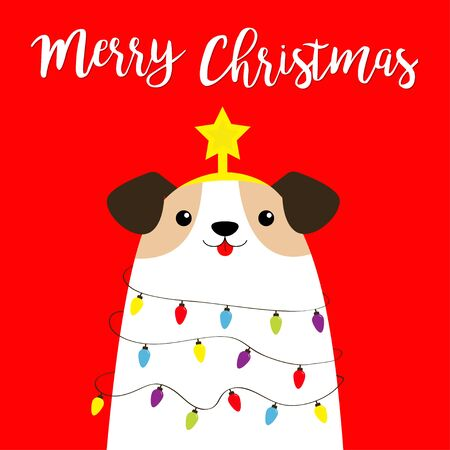 Merry Christmas dog fir tree shape. Garland lights bulb string Star tip top. Puppy pooch. Funny Kawaii animal Kids print. Cute cartoon baby character. Pet collection. Flat design Red background Vector Stock Illustratie