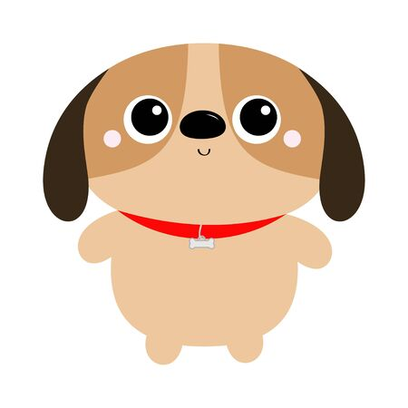 Dog toy icon. Big eyes. Puppy pooch standing. Funny Kawaii animal. Kids print. Cute cartoon baby character. Pet collection. Flat design White background. Vector illustration