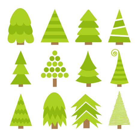 Merry Christmas Fir tree icon set. Cute cartoon green different triangle simple shape form. White background. Isolated. Flat design. Vector illustration