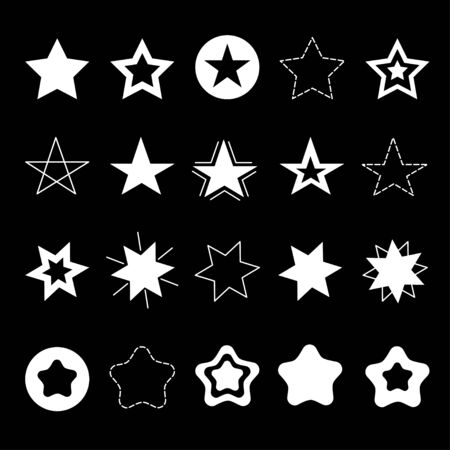 Sparkles Stars sign symbol icon set. Hand drawing doodle image. Cute shape collection. Christmas decoration element. Black background. Flat design. Vector illustration Stock Illustratie