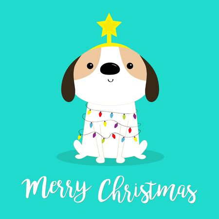 Merry Christmas dog fir tree shape. Garland lights bulb string Star. Puppy pooch sitting. Funny Kawaii animal Kids print. Cute cartoon baby character. Pet collection Flat design Blue background Vector Stock Illustratie