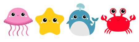Whale Jellyfish Crab Starfish toy icon set line. Big eyes. Yellow star. Cute cartoon kawaii funny baby character. Sea ocean animal collection. Flat design. Kids print. White background Isolated Vector Stock Illustratie