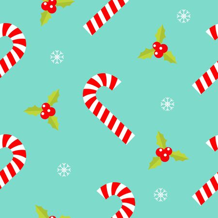 Merry Christmas Seamless Pattern. Candy Cane red white stick. Holly berry icon. Cute Mistletoe. Green leaf. Three red berries. Snow flake. Flat design. Blue background.