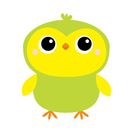 Parrot bird toy icon. Big eyes. Green yellow color. Funny Kawaii animal standing. Kids print. Cute cartoon baby character. Pet collection. Flat design White background. Vector illustration