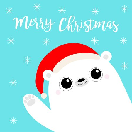 Merry Christmas. White polar bear waving hand paw print. Santa Claus red hat. Cute cartoon funny kawaii baby character. Happy New Year. Flat design. Greeting card. Blue snow flake background. Vector