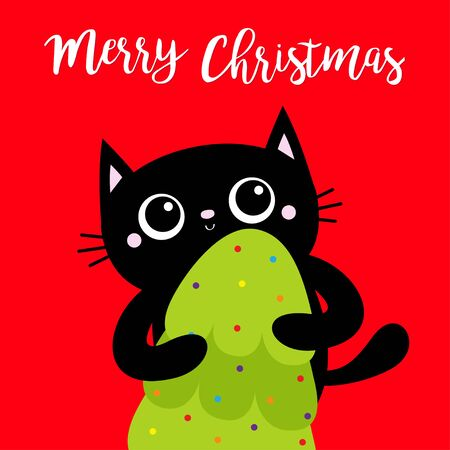 Merry Christmas. Black cat holding fir tree. Kitty kitten standing. Funny Kawaii animal. Kids print. Cute cartoon baby character. Pet collection Flat design. Red background Vector