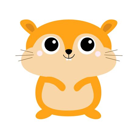 Hamster toy icon. Big eyes. Funny Kawaii animal standing. Kids print. Cute cartoon baby character. Pet collection. Flat design White background Vector illustration