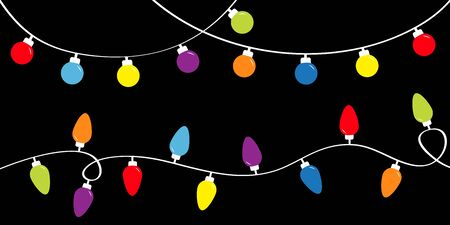 Colorful string fairy light set. Holiday festive xmas decoration. Christmas lights. Lightbulb glowing garland. Rainbow color. Flat design. Black background. Isolated. Vector illustrtion