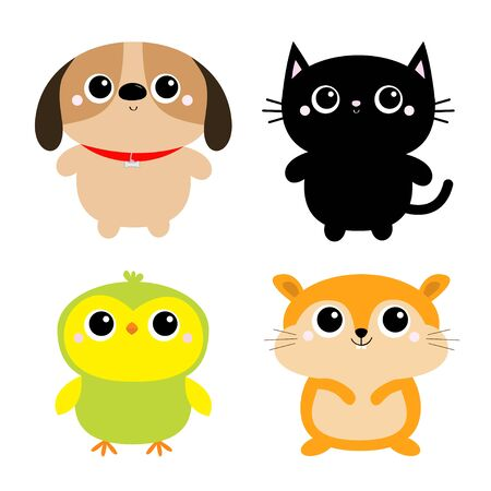 Black Cat Dog Hamster Parrot bird toy icon set. Big eyes. Kitty kitten standing. Funny Kawaii animal. Kids print. Cute cartoon baby character. Pet collection. Flat design White background. Vector