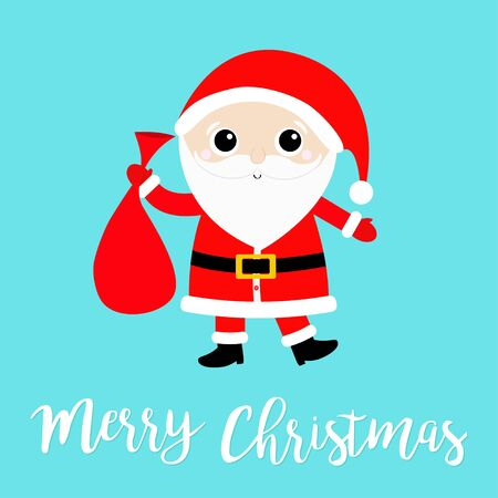 Merry Christmas. Cute Santa Claus holding carrying sack gift bag. Red hat, costume, big beard, golden belt. Cartoon funny baby character. Happy New Year. Ilustração