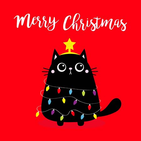 Black cat Merry Christmas fir tree shape. Garland lights bulb string. Star Kitty kitten. Funny Kawaii animal. Kids print. Cute cartoon baby character. Pet collection Flat design. Red background Vector
