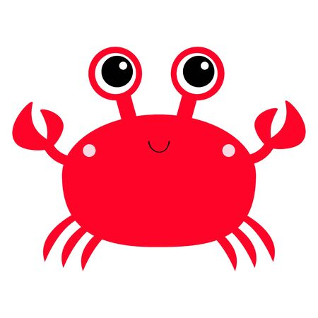 Crab toy icon. Big eyes, claws. Cute cartoon kawaii funny baby character. Sea ocean animal collection. Flat design. Kids print. White background. Isolated. Vector illustration