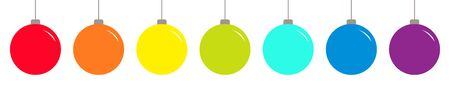 Christmas ball icon set line. Rainbow color. Happy New Year sign symbol bauble toy. White background. Isolated. Flat design style. Vector illustration