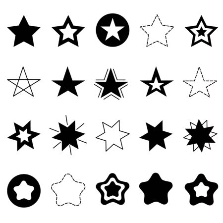 Sparkles Stars sign symbol icon set. Hand drawing doodle image. Cute shape collection. Christmas decoration element. Flat design. White background. Vector illustration