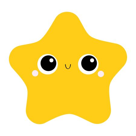 Starfish toy icon. Big eyes, claws. Cute cartoon kawaii funny baby character. Sea ocean animal collection. Yellow star. Flat design. Kids print. White background. Isolated. Vector illustration