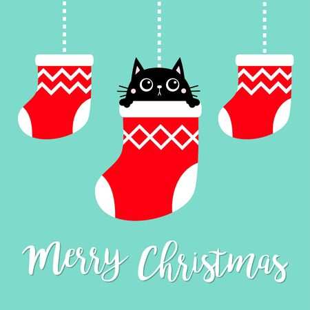 Merry Christmas. Hanging christmas red socks dash line. Black cat head face head. Cute cartoon kawaii baby character. Flat design. Blue background. Vector illustration