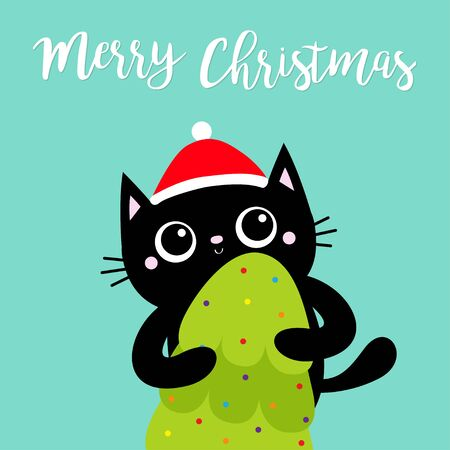 Merry Christmas. Black cat holding fir tree. Red Santa Claus hat. Kitty kitten standing. Funny Kawaii animal. Kids print. Cute cartoon baby character. Pet collection Flat design Blue background Vector  イラスト・ベクター素材