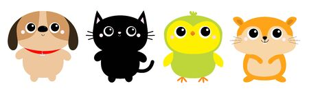 Dog Black Cat Hamster Parrot bird toy icon set line. Big eyes. Kitty kitten standing. Funny Kawaii animal. Kids print. Cute cartoon baby character. Pet collection. Flat design. White background Vector  イラスト・ベクター素材