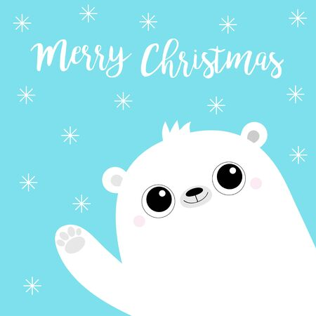 Merry Christmas. White polar bear waving hand paw print. Cute cartoon funny kawaii baby character. Happy New Year. Greeting Card. Flat design. Blue snow flake background. Vector illustration  イラスト・ベクター素材