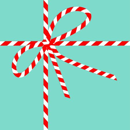 Red White ribbon bow knot on blue background. Merry Christmas. Candy cane striped color. Cute xmas holiday decoration. Flat design. Isolated. Vector illustration.  イラスト・ベクター素材