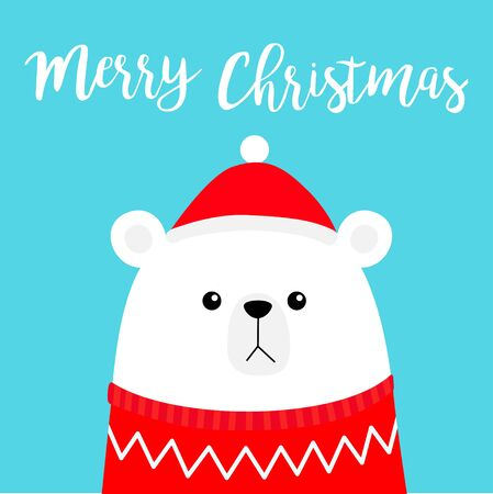 Merry Christmas. Polar white bear cub head face wearing red Santa hat knitted ugly sweater. Cute cartoon smiling baby character. Arctic animal. Flat design.