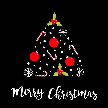 Merry Christmas Fir tree made from snowflake, holly berry, ball, candy cane, star sparkle, snow set. Cute cartoon triangle shape form. Happy New Year. Black background.