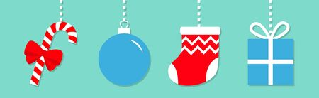Candy cane Christmas ball Sock Gift box hanging on dash line. Cute round red blue bauble toy set. Happy New Year sign symbol.