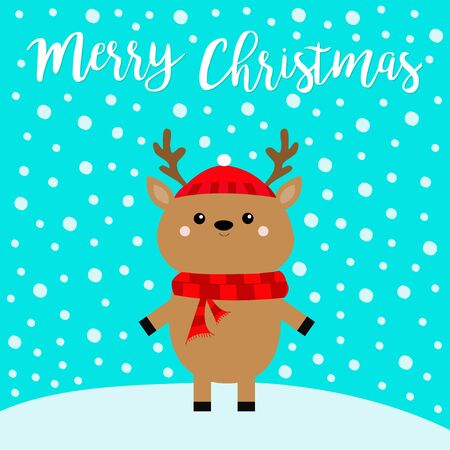 Merry christmas. Cute cartoon funny deer standing on snowdrift. Horns, red scarf, hat. Reindeer head. Blue winter snow flake background. Greeting card Flat design.  イラスト・ベクター素材