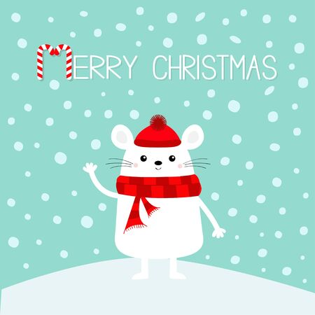 White mouse on snowdrift. Waving hand. Merry Christmas. Candy cane. Happy New Year 2020 sign symbol. Cute funny cartoon baby character. Flat design.