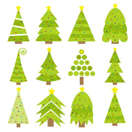 Merry Christmas Fir tree icon set. Round ball light bulb. Yellow star. Cute cartoon green different triangle simple shape form. White background. Isolated. Flat design.