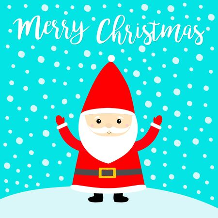 Merry Christmas. Santa Claus costume, red hat, beard. White snowdrift. Cute cartoon funny character. New Year. Ilustração