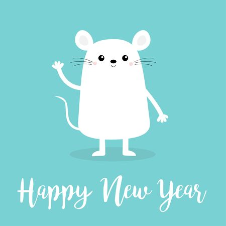 White mouse waving hand. Happy New Year 2020 sign symbol. Merry Christmas. Cute cartoon funny kawaii baby character. Flat design.