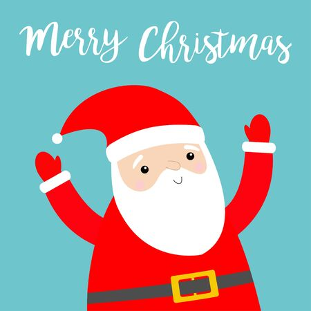 Merry Christmas. Santa Claus holding hands up. Costume, red hat, beard, belt. Cute cartoon  funny character. New Year.