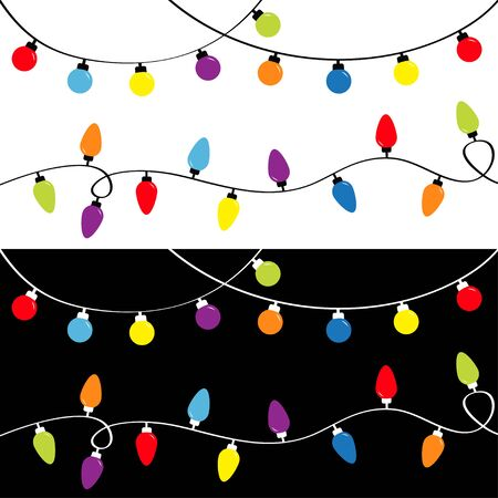 Christmas light set. Holiday festive xmas decoration. Colorful string fairy lights. Lightbulb glowing garland template. Rainbow color. Flat design. Black and white background. Isolated.