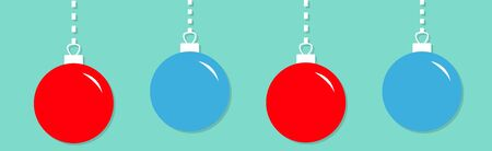 Four Christmas ball hanging on dash line. Cute round red blue bauble toy set. Happy New Year sign symbol. Flat design style.