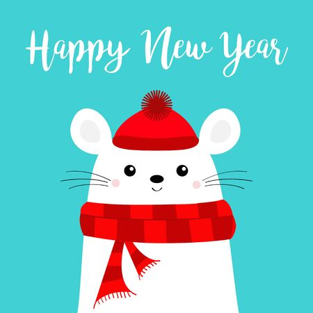 Happy New Year. White mouse head face. Red hat, scarf. 2020 sign symbol. Merry Christmas. Cute funny cartoon baby character. illustration  イラスト・ベクター素材