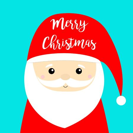 Merry Christmas. Santa Claus face head icon. New Year. Big red hat. Mustaches, beard. Cute cartoon funny baby character.