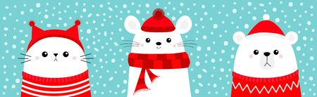White bear cub Mouse Cat head face wearing red Santa hat knitted ugly sweater, hat, scarf. Merry Christmas. Cute cartoon baby character. Arctic animal.  イラスト・ベクター素材