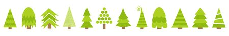 Merry Christmas Fir tree line icon set. Cute cartoon green different triangle simple shape form. White background. Isolated.  イラスト・ベクター素材