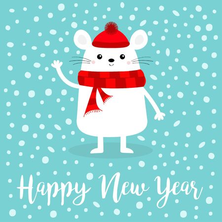 Happy New Year 2020 sign symbol. White mouse waving hand. Merry Christmas. Cute funny cartoon  baby character. Red scarf, hat. Flat design.
