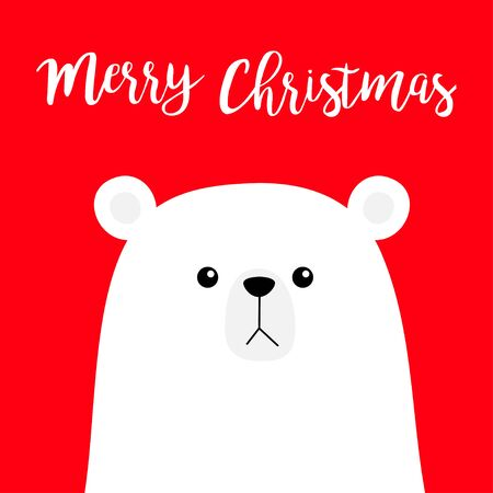 Merry Christmas. Polar white bear cub face. Happy New Year. Cute cartoon funny baby character. Arctic animal. Hello winter. Flat design. Hello winter.