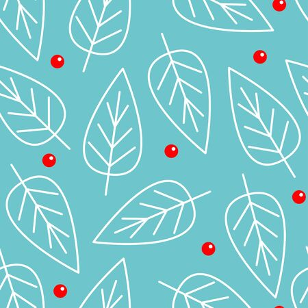 Merry Christmas seamless pattern. White line leaf winter set. Red berry. Happy New Year. Blue background. Isolated. Flat design.  イラスト・ベクター素材